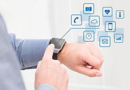watchphone on man's wrist